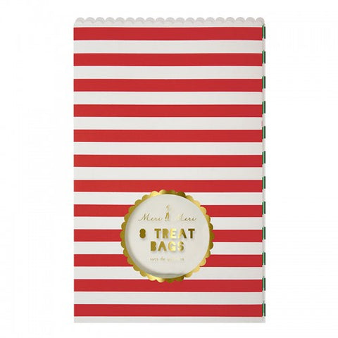 Christmas Treat Bags with Window - Red, Green & White Striped - Pack of 8 with Stickers