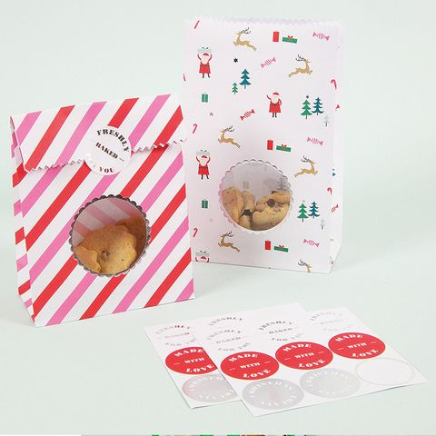 Christmas Be Jolly Christmas Treat Bags with Window - Pack of 8 with Stickers