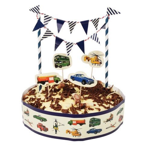 Cake Bunting & Decorating Set: Vintage Transport
