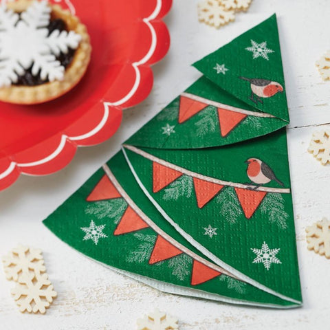Napkins: Festive Christmas Tree Shaped - Pack of 12