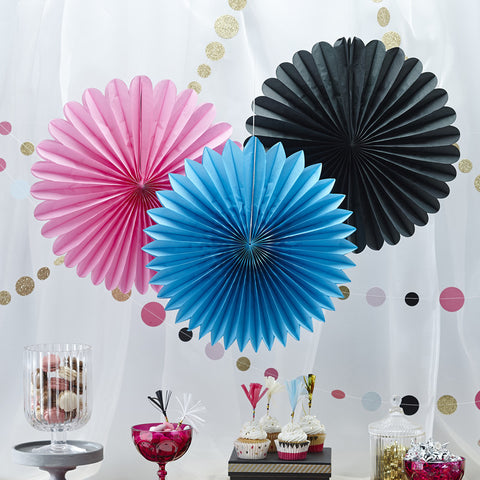 Wall Fan Decorations: Black, Blue & Pink
