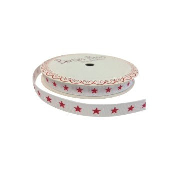 Ribbon: Christmas Star on White 3m