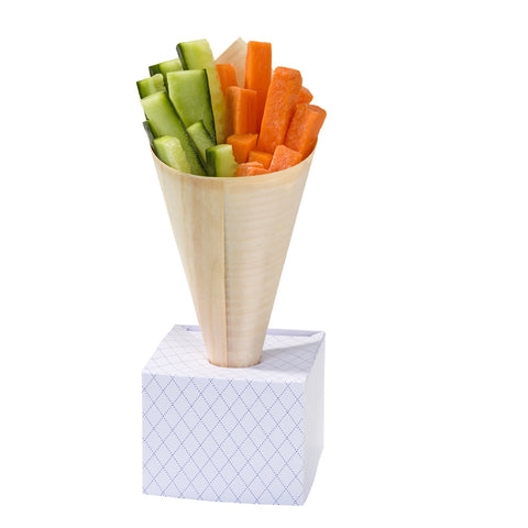Wooden Food Cones with Stands: Pack of 8