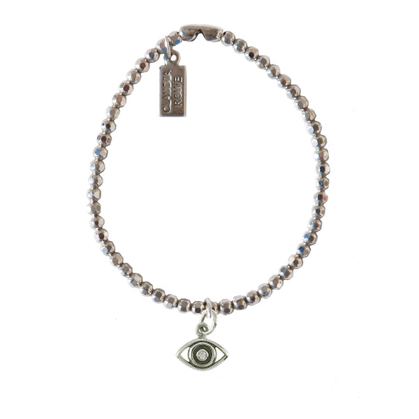Solid Sterling Evil Eye Charm Bracelet with 1-pt Diamond
