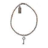 Solid Sterling Key Charm Bracelet