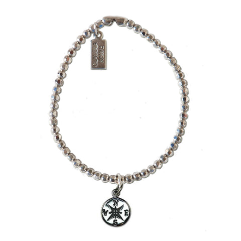 Solid Sterling Compass Charm Bracelet