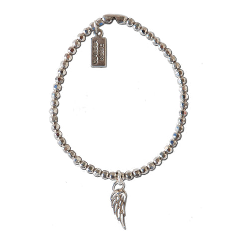 Solid Sterling Angel Wing Charm Bracelet