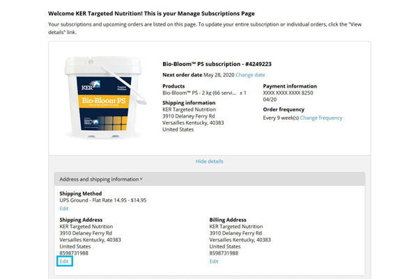 Screenshot of the My Subscriptions page with the Address and Shipping Information section expanded and the Edit link highlighted in a teal box.