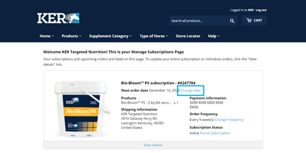 "Screenshot of a sample ""My Subscriptions"" page with the ""Change date"" link highlighted."