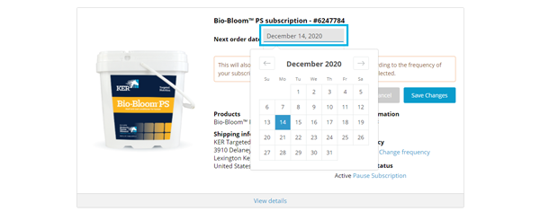 "Screenshot of a sample ""My Subscriptions"" page with the ""date"" highlighted and pop-up calendar displayed."