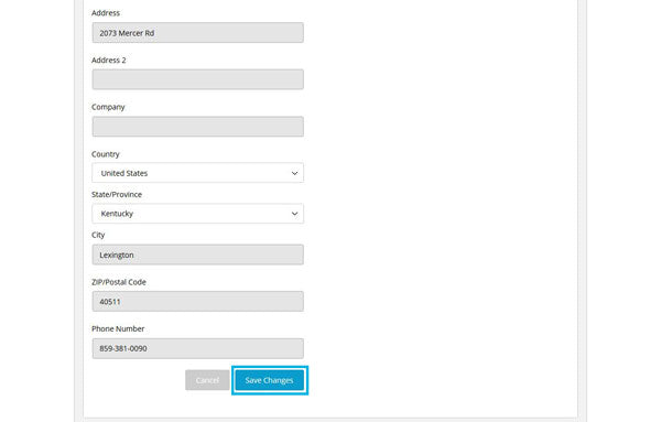 Screenshot of the My Subscriptions page with the Edit Shipping Address section expanded and the Save Changes link highlighted in a teal box.