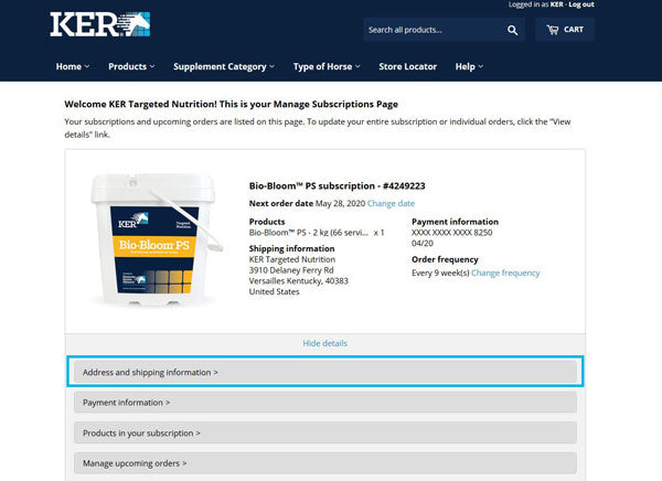 Screenshot of the My Subscriptions page with the Address and shipping information link highlighted in a teal box