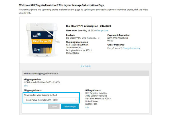 Screenshot of the My subscriptions page with the Address and Shipping Information section expanded and the Update Shipping Method field highlighted in a teal box.