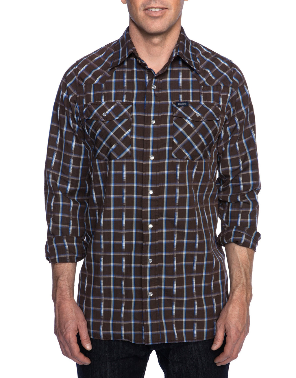 Crawford Denim Brown Plaid Western Shirt