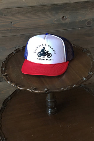 "Cap Trucker ""Motorcycles"" Red/White/Blue"