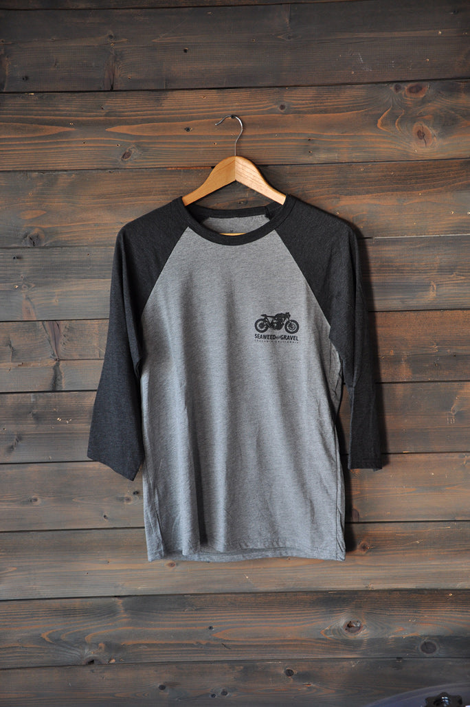 "Tee ""House of Miraculous Recovery"" L/S Raglan H.Grey/Charcoal"