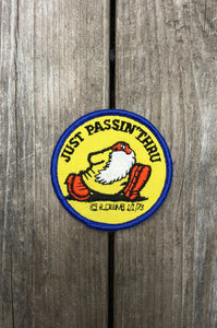 "Patches R. Crumb Authentic 70's Dead Stock ""Just Passin' Thru"" Circle"