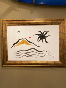 "Original Art ""Land and Sea"" Painting from Seaweed and Gravel"