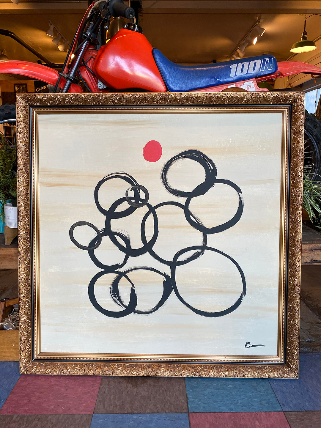 "Original Art ""Circles"" Painting from Seaweed and Gravel"