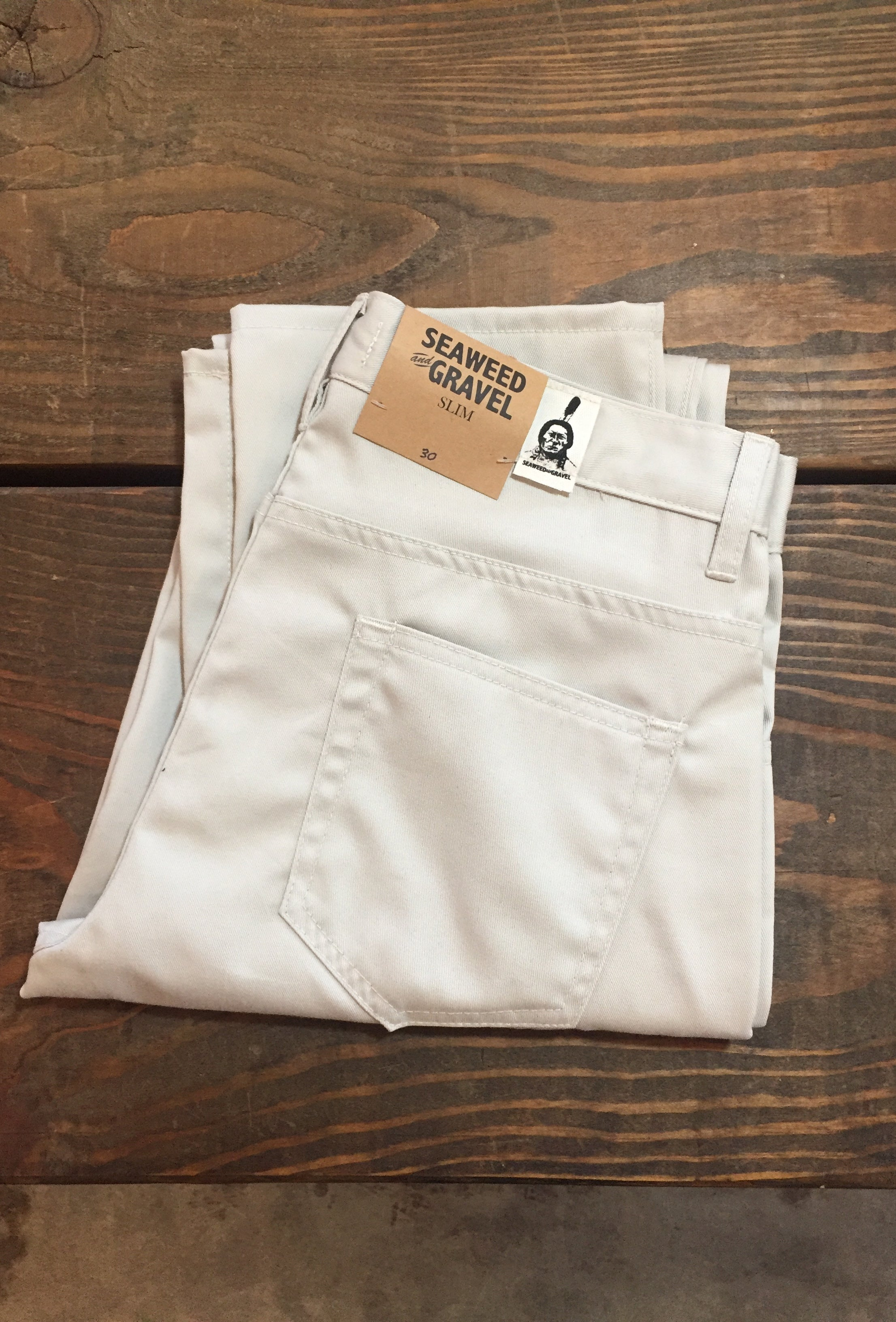 Twill Seaweed and Gravel Mens Slim Jeans Vintage Ivory
