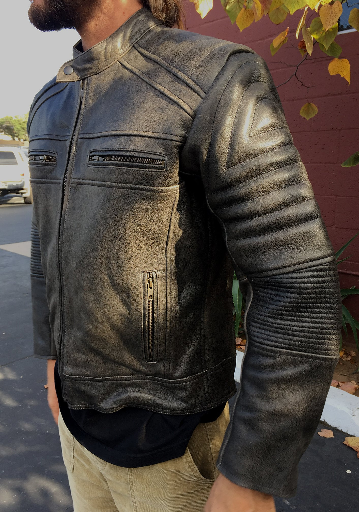 Jacket Leather Armored Seaweed and Gravel Black