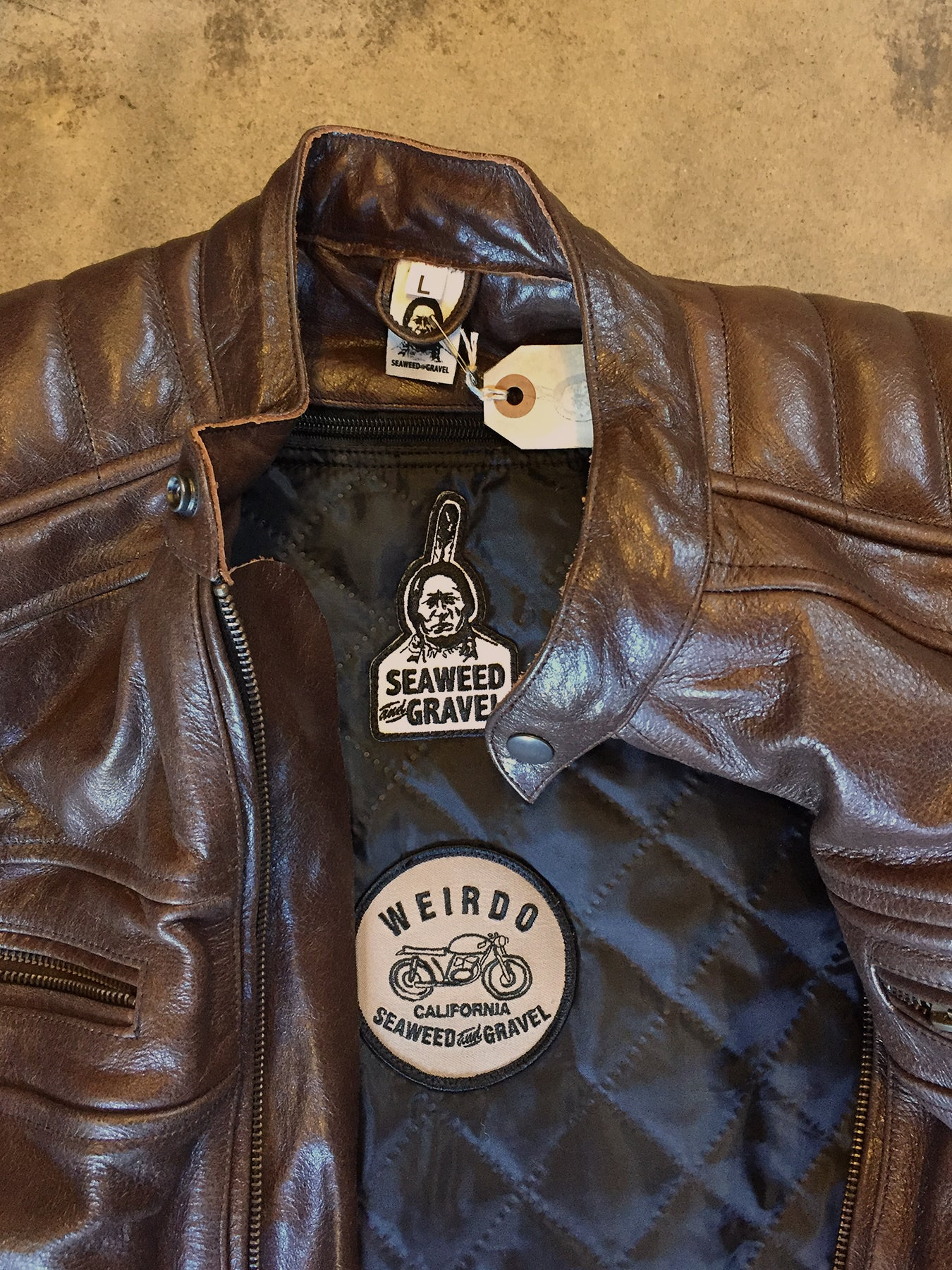 Jacket Leather Armored Seaweed and Gravel Brown