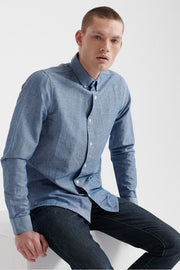 Superdry Mens Edit Linen Button Down Long Sleeve Shirt in Blue