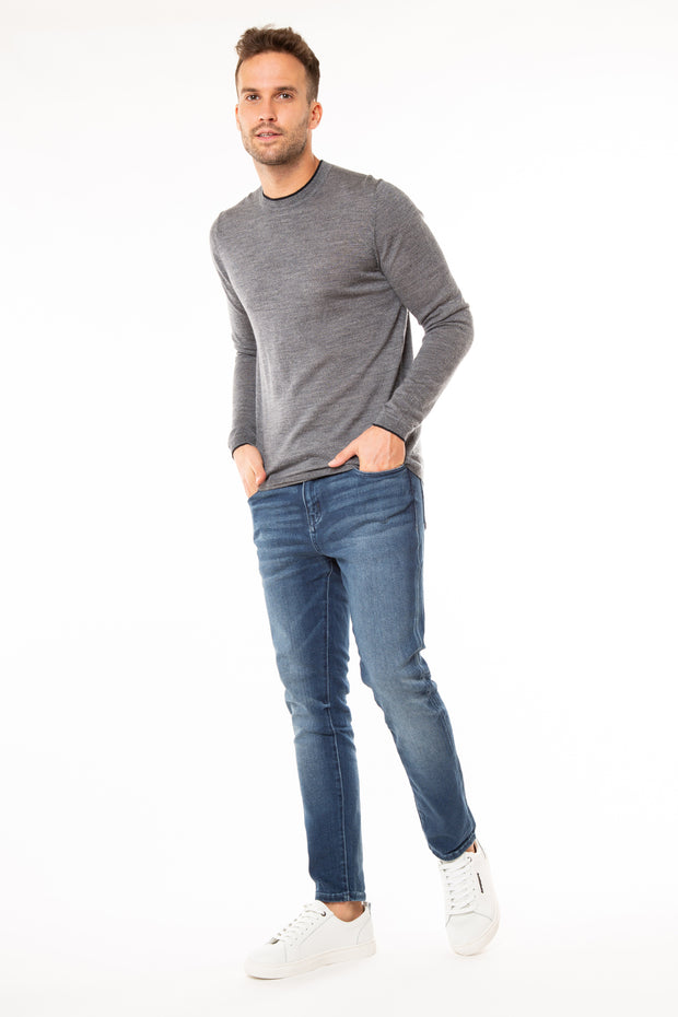 Superdry Mens Edit Merino Crew Jumper Granite Marl
