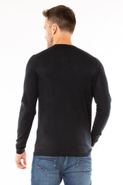 Superdry Mens Edit Merino Crew Jumper Nightwatch Black