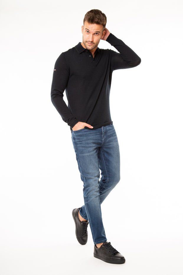 Superdry Mens Edit Long Sleeve Polo Shirt in Black
