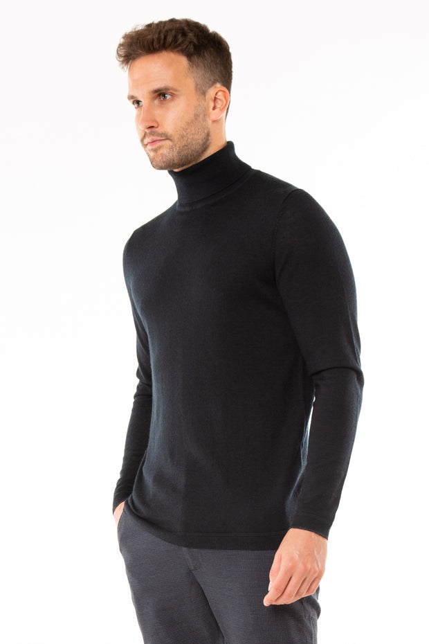 superdry mens Edit Merino Roll Neck Jumper black