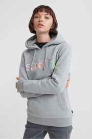 Superdry Womens Classic Rainbow Embroidered Hoodie Grey Marl