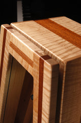 climastand, guitar humidor, free standing humidified guitar display case, mahogany and flamed maple