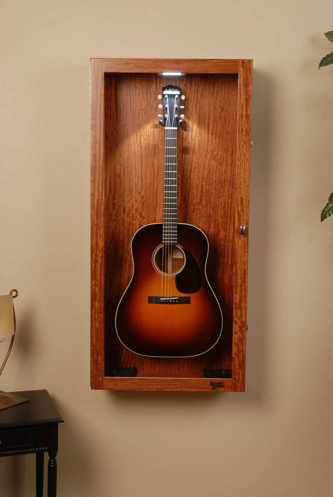 Wall Mounted Humidified Guitar Display Case Figured