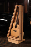 climastand, guitar humidor, free standing humidified guitar display case, walnut and flamed maple