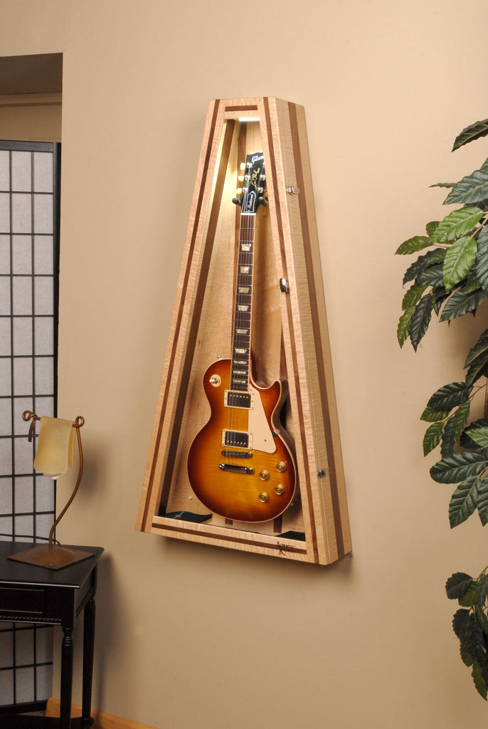 Flamed Maple/Walnut Wall ClimaStand for Electric Guitars