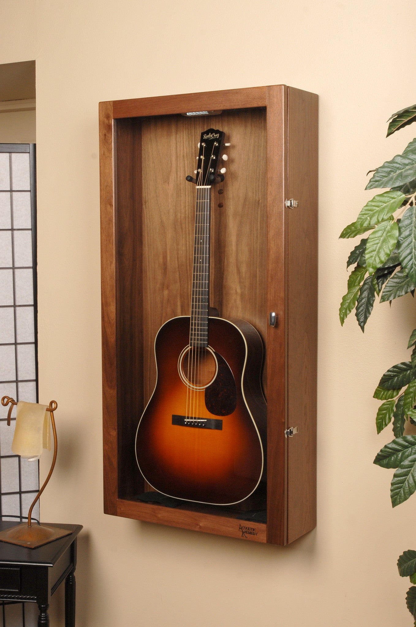 rectangle wall mounted humidified guitar display case acoustic remedy. Black Bedroom Furniture Sets. Home Design Ideas