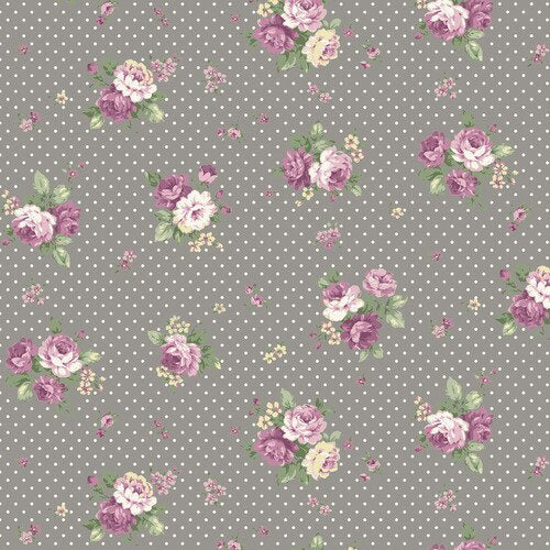 Quiltgate - Pink flower on Grey with Spot