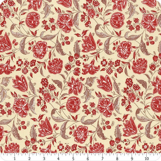 French General - Red floral on Cream