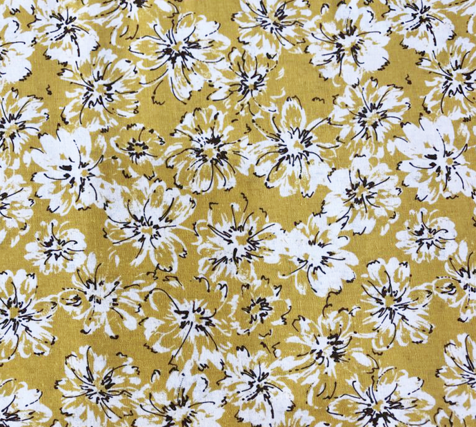 White Floral on Mustard