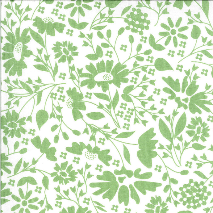 Green Floral on White