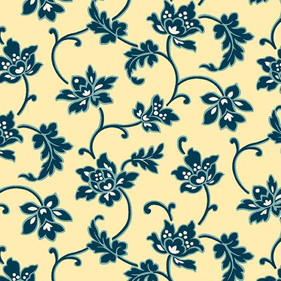 Dark blue Floral on Yellow