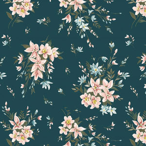 Liberty Cotton - Winterbourne Bouquet Green