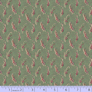 Pink Floral on Dark Green