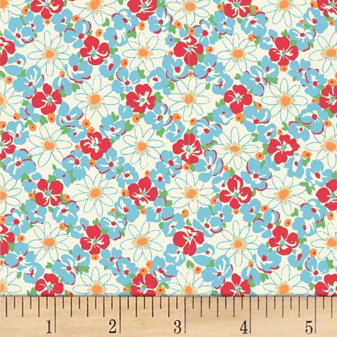 Quiltgate - Red and Blue Floral Lattice