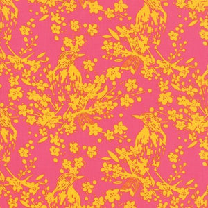Yellow Birds on Pink
