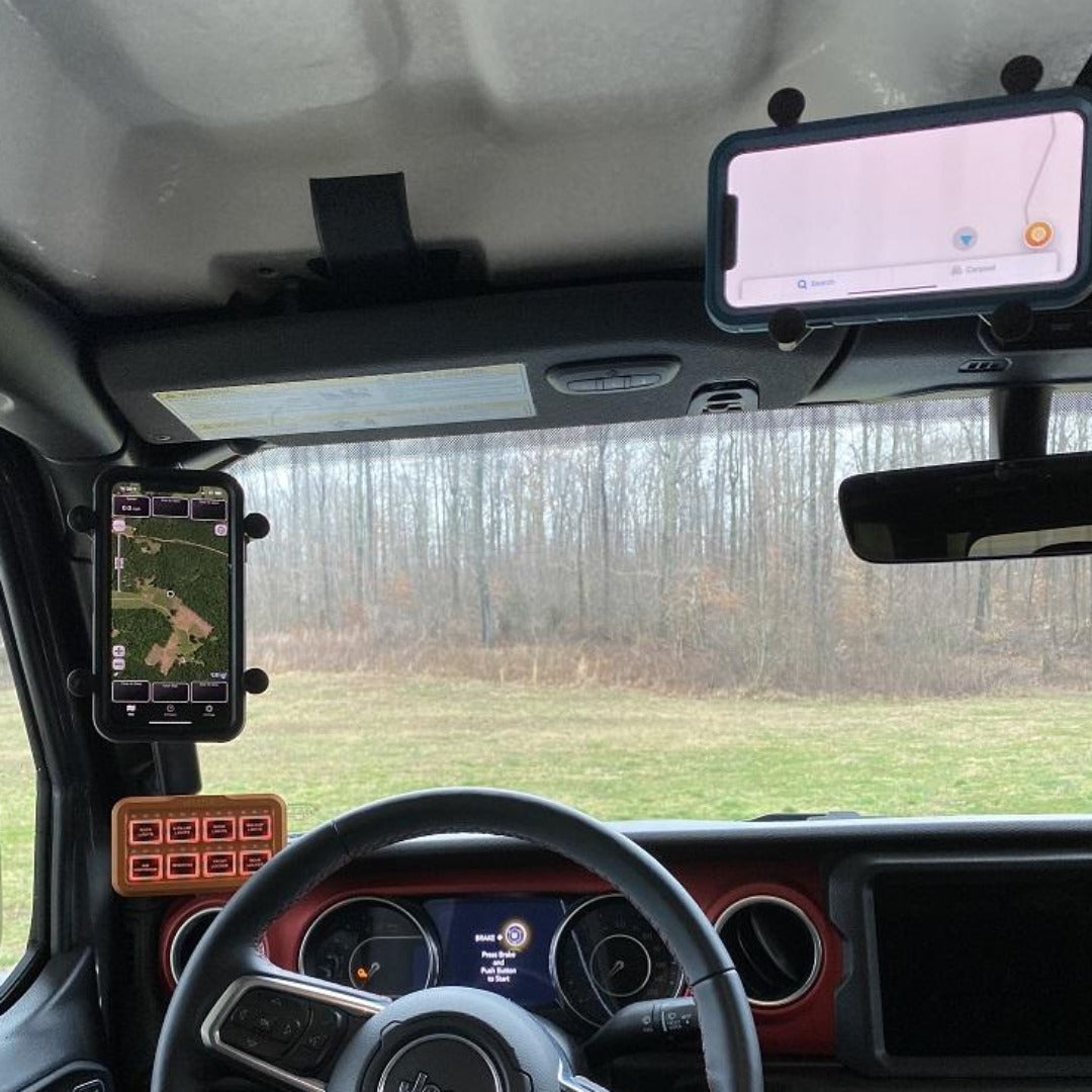 gladiator freedom panel ball mount with ram mount x-grip xl and iphone upper right corner