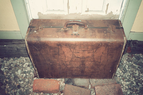 Vintage 1940s Samsonite Brown Leather Travel Suitcase