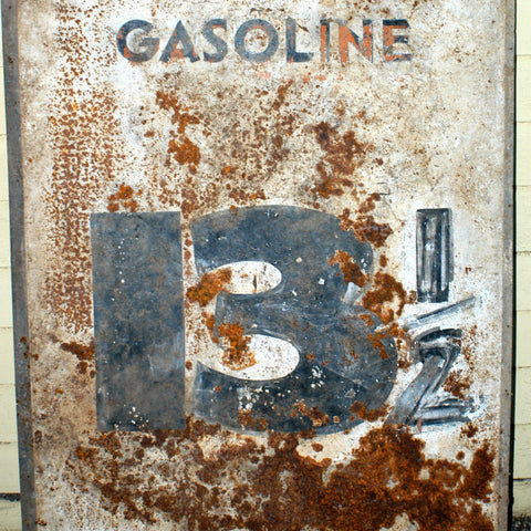 1930s Metal / Tin Gasoline Gas Station Price Sign (13 cents Gallon!)