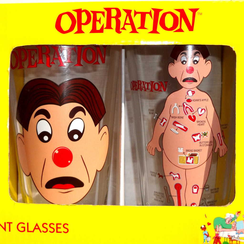 Operation (The Board Game) Barware 16oz Pint Glass Glasses Set of 2
